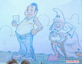 Doodle on Cake Box Lid (Blue Marker and Crayon) by mrasheed