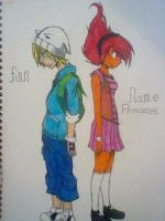 finn and flame princess by domo-nik