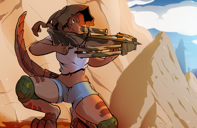Lizard monster girl sniping by drowtales