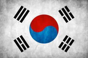 South Korea Grunge Flag by think0