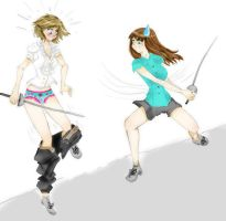 Commission: Fencing girls by Lucceira