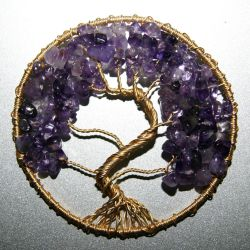 Gold and Amethyst Tree of Life pendant by craftymama