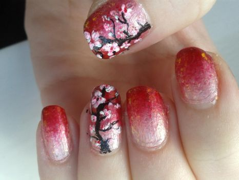 Gradient Nails with Cherry Blossoms by Taralr
