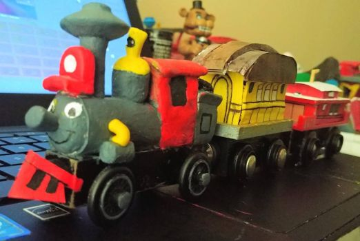 Wooden Casey Jr with yellow coach, and caboose by GameGeeksDeviant