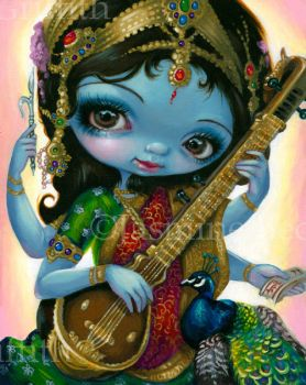 Saraswati Playing Veena by jasminetoad