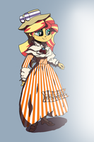 Sunset Shimmer in a Sunset Dress Basking in Sun by suxt0hax