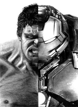 Hulk Ironman Half and Half by ShayneMurphy