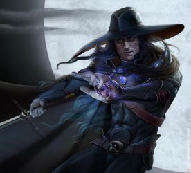 Vampire hunter D. Portrait by Feael