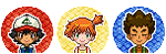 Pixel Icons: Ash Misty and Brock by CosmicTao