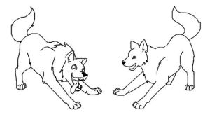 Wolves Playing Lineart by crazylunagirl