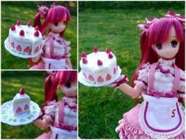 Sweet strawberry shortcake cake by LittlestSweetShop
