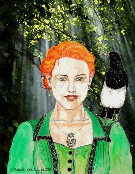 Fiona O'Reilly and Maggie the magpie