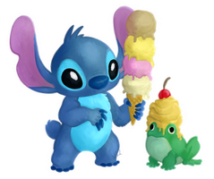 Paint-along 3# Ice-Cream and Stitch by kr1st1naa