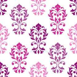 Heart Damask Pattern Pinks Plums White by NatPaskell