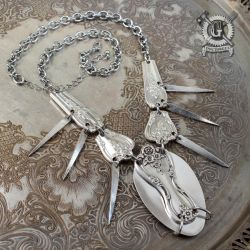 Magnolia Pattern Spoon Statement Necklace by Doctor-Gus