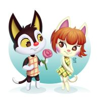 Rudy and Felicity ACNL by tweakfox