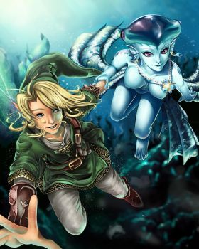 Link and Princess Ruto - Bathe in Time by ProjectVirtue