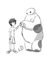 Hiro and Baymax Fistbump~ Digital Sketch~ by AlphaFuryoftheNight