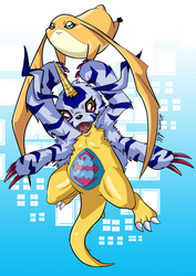 ART TRADE - Patamon and Gabumon by allocen
