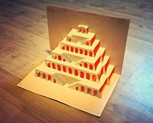 Origami Architecture Pop Up - Tower Of Babel by JasonChanDraws