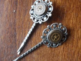 Steampunk-ish Hairpins by GildedGears