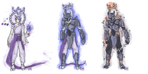 Mewtwo and Missingno Gijinka by bulletproofturtleman