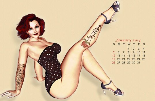 Pinup Number Twenty-Two: Calendar Girl (January) by wcpelon