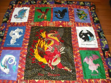 Dragon Quilt top and sides by WhickedCreations