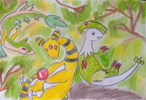 servine, Ampharos and Breloom. by Shantifiy
