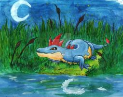 Croconaw in the Moonlight