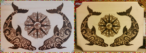 Woodburning - Tribal  Dolphins by Stepher17
