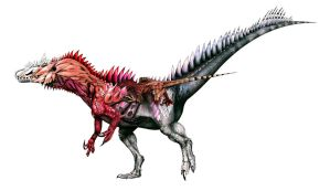 type-TNH (Triloneuro) allosaurus by PinkAndScary