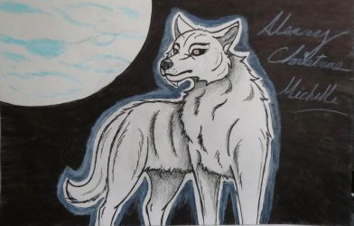 White Wolf On a Full Moon by yugiohfreakXD