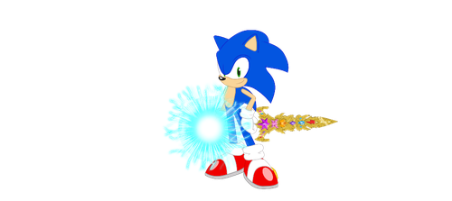 Sonic with speed force orb and sword of harmony V2 by SBoomSonicspeeder