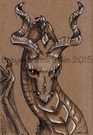 Dragon ACEO on toned paper #1 by The-GoblinQueen