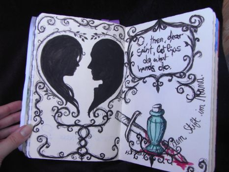 write or draw with pen in mouth - Romeo and Juliet by KizutaSama