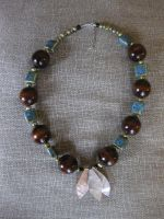 Shell-Wooden Bead Necklace by Batalha-Enterprises