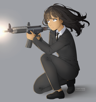Commission - girl with a rifle by MisaKarin