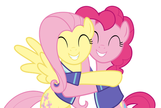 Pinkie and Flutters Hugging by Comeha