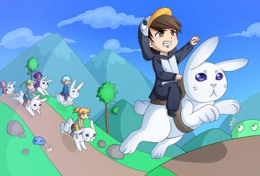 The bunny race by Ofelie