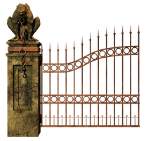 Graveyard Gate Left PNG Stock by Roy3D