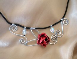 Swirly Rose Necklace by squeejie