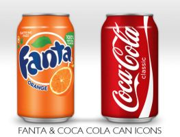Coca Cola and Fanta Can Icon by NKspace