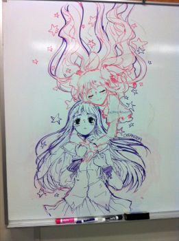 Homura/Godoka Whiteboard by oceantann
