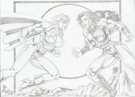 PowerGirl vs. She-Hulk by Robb Phipps by zefly88