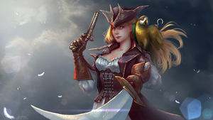 Commission: Pirate and parrot (Gold) by Leventart