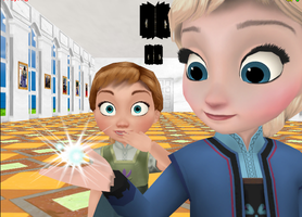 Little Elsa and Anna playing with magic by Hack-Girl