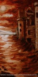 Aaron's Nocturnal: Underpainting Castle Detail by briescha