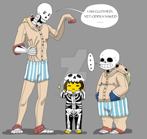Skelebros and Frisk In onesies. by KagedFreedom