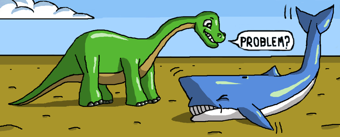 Sauropod and whale by Maleiva
